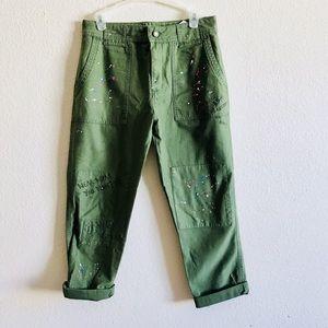 ZARA army green paint splatter mom crop jeans NWOT